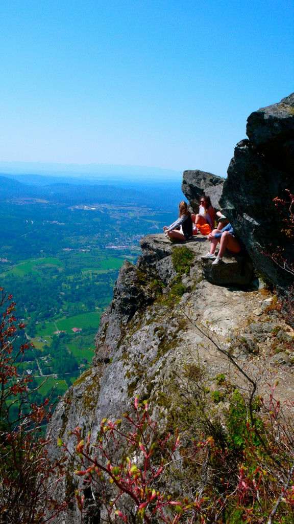 Friendly group we met on the hike at the summit.  Cannot be afraid of heights to scramble to this point! Amazing views!