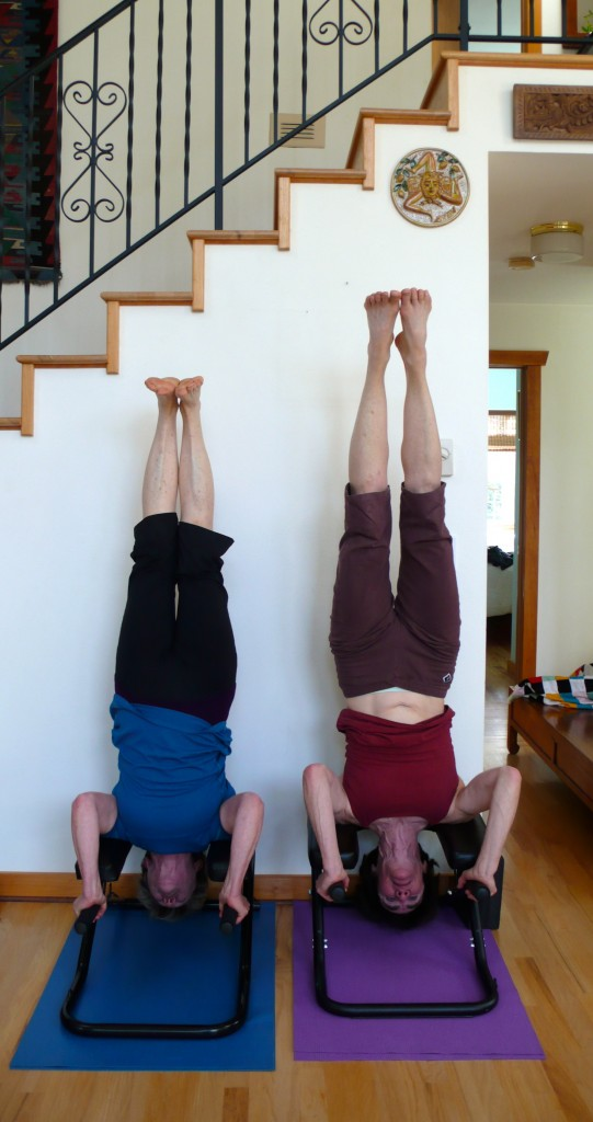 Double header-headstands.  Skye brought her headstand bench, too!