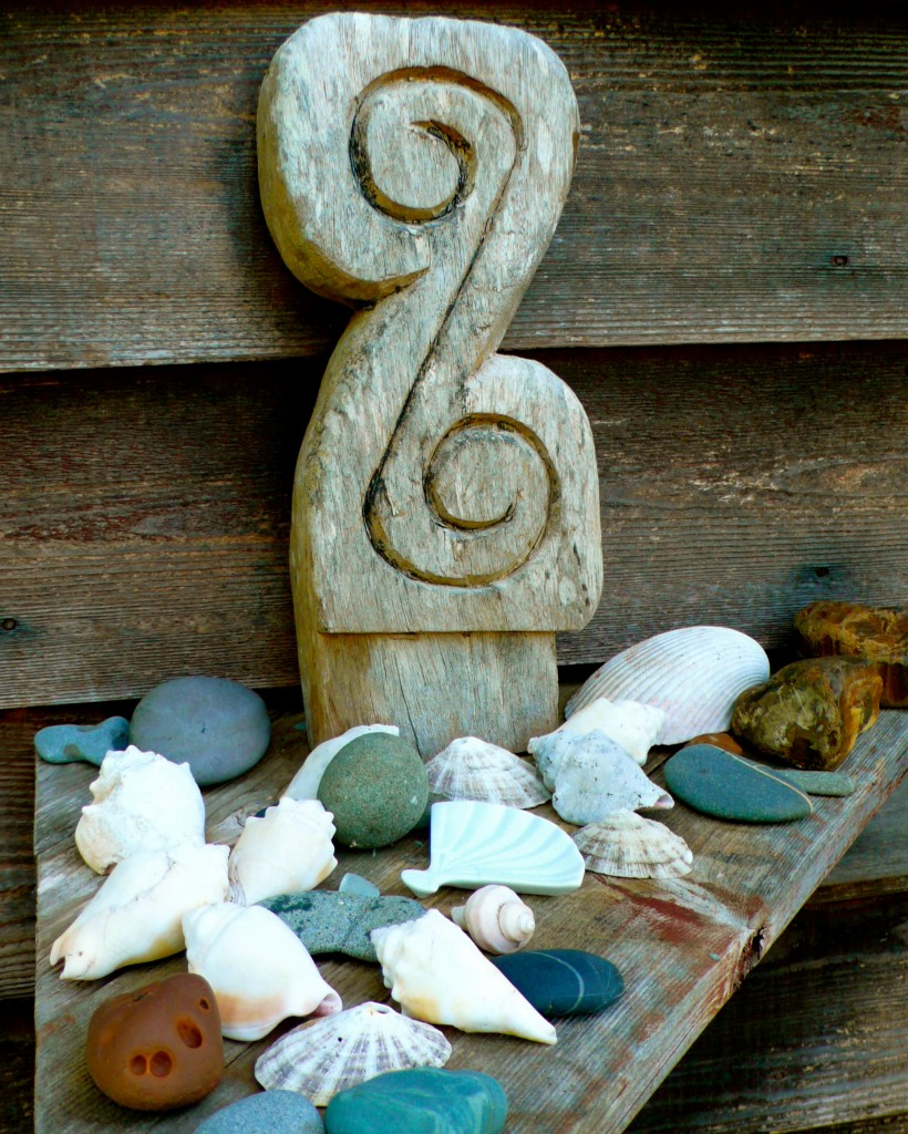 A collection of rocks and shells welcome you as you enter the house.
