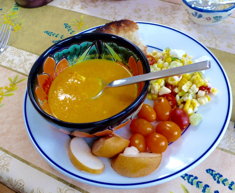Delicious meals made from organic garden produce! (Carrot soup)