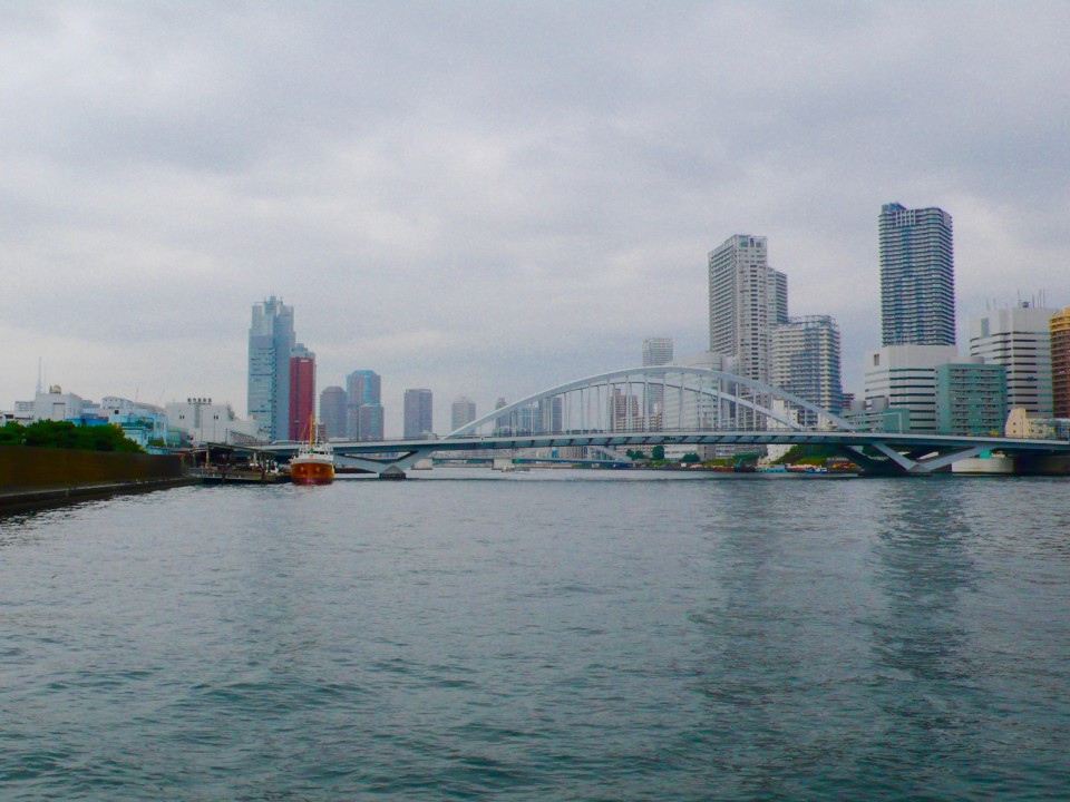 Next, we boarded a cruising boat to go up the Sumida River.  We passed 14 bridges and Kazuko showed us landmarks of the city.