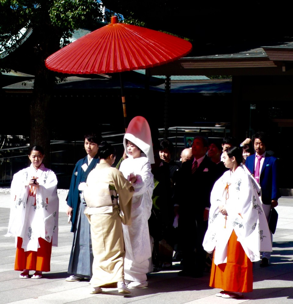 We saw two weddings at Meiji Shrine.  This bride is wearing