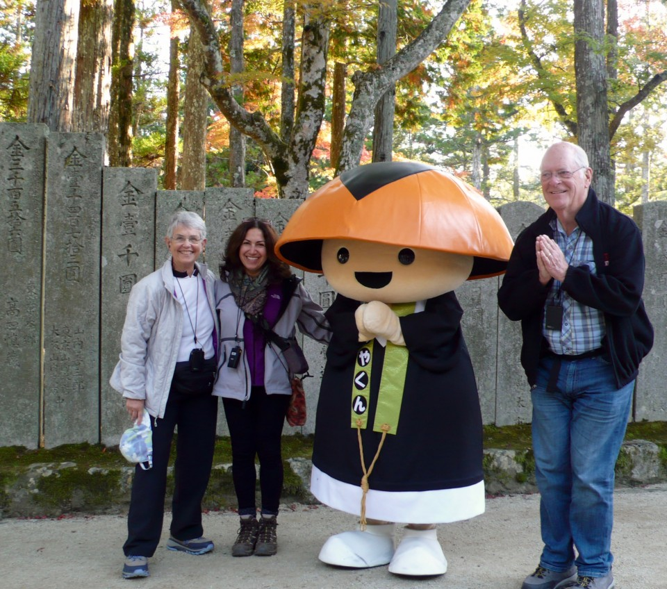 Oh, let's pose with a monk! with Ginger and Woody Howse