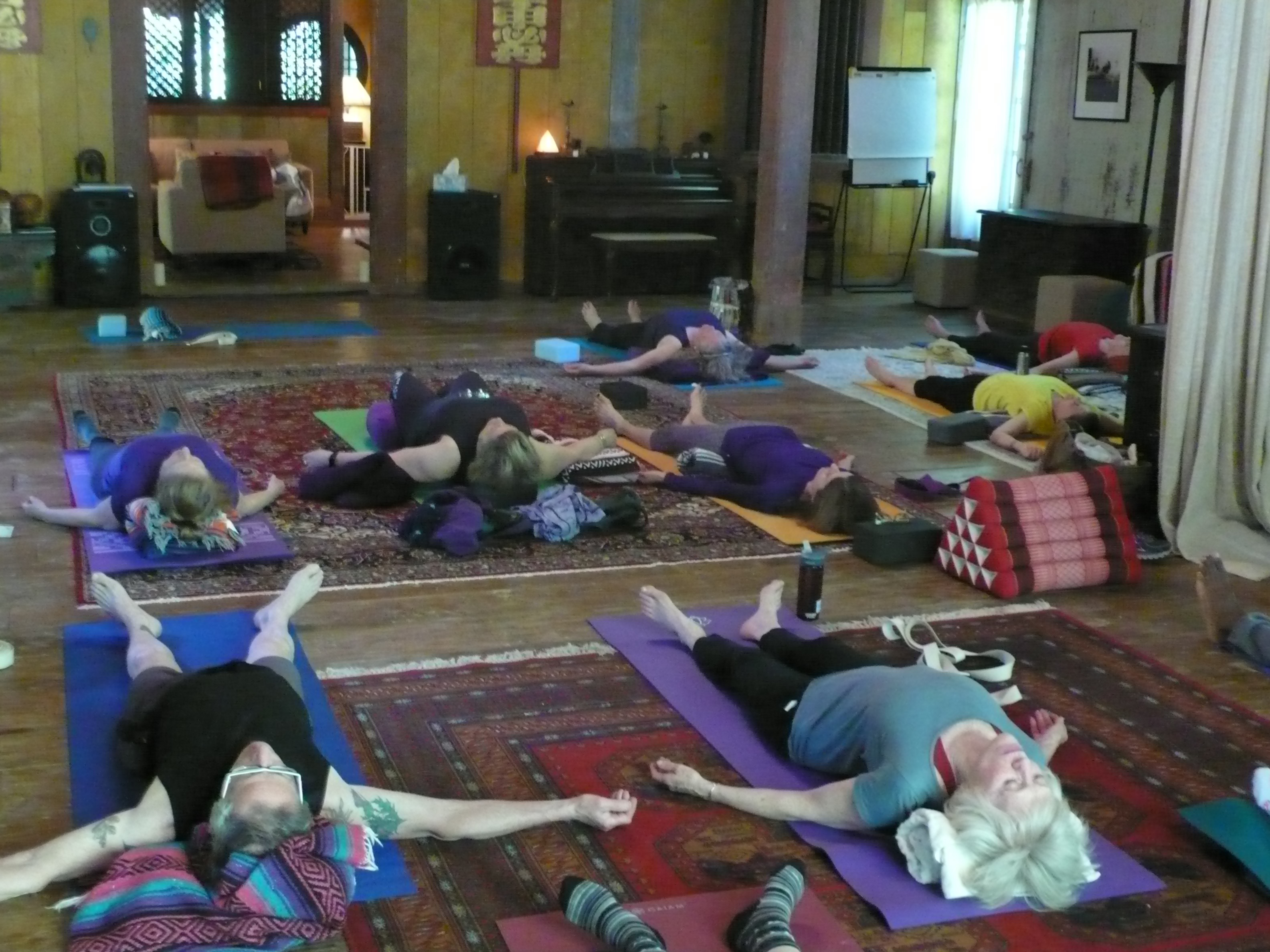 End of the day...shavasana (nice enough to have doors open to the land and forest of Vashon Island.)