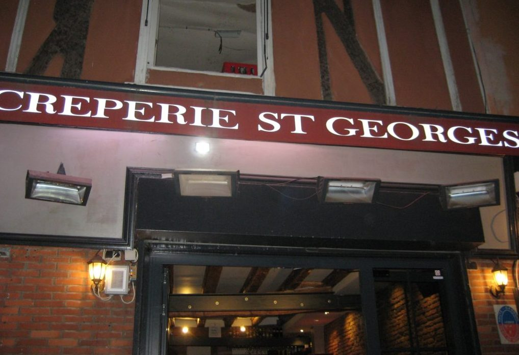 Outside Creperie St Georges in Toulouse