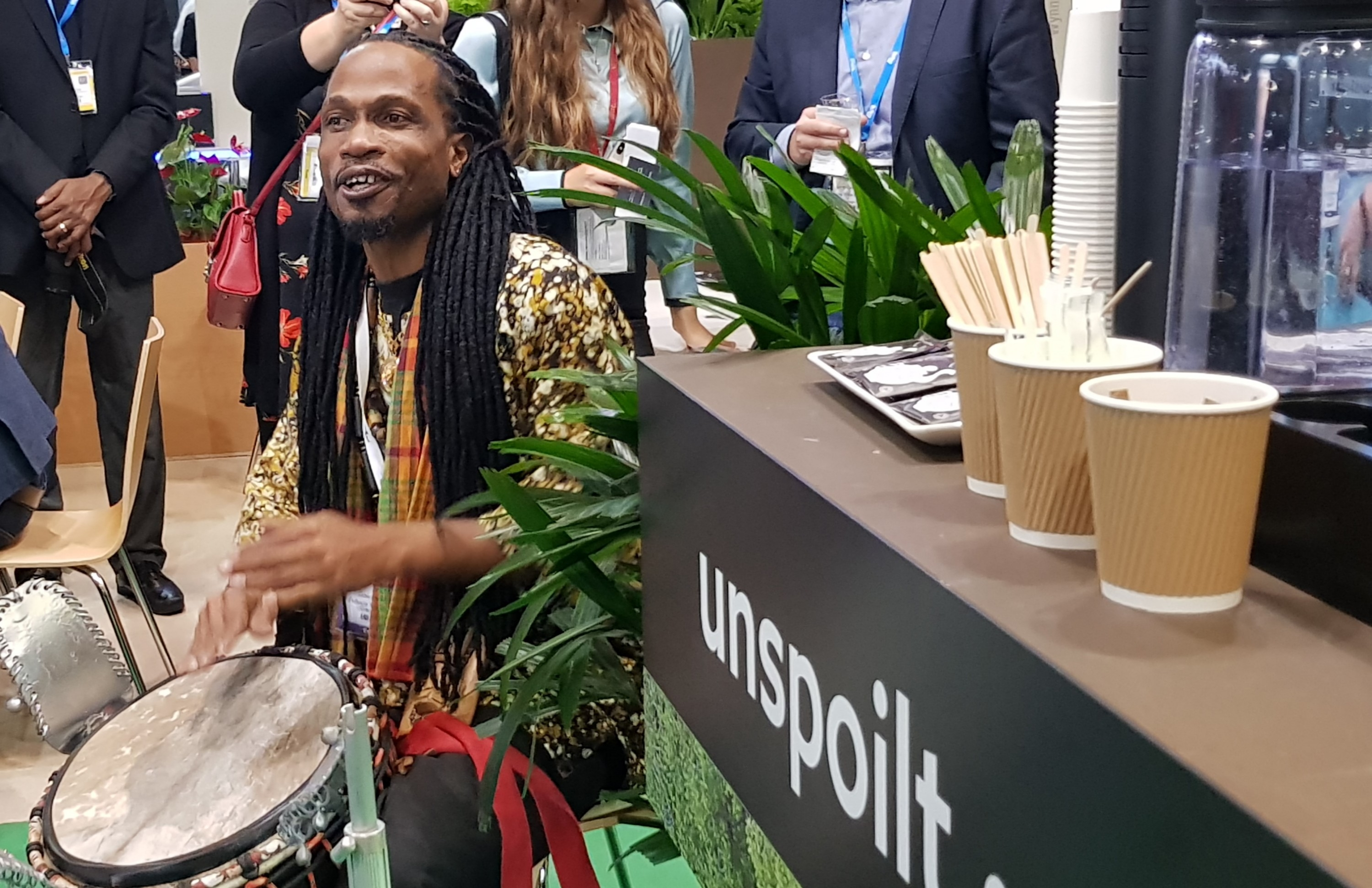 Drummer warming up the crowd before Tobago press conference at WTM