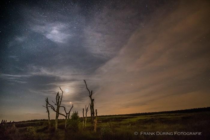 Sternbahnen, Hohes Venn, Nachtaufnahme, Milchstraße, Blutmond, Mars