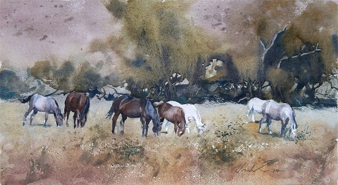 Grazing in Wine Country (2017) by Frank Eber | Atmospheric Watercolor