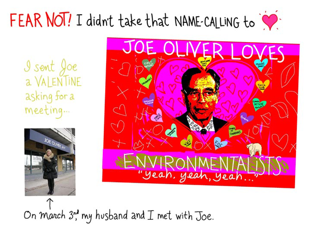 Fear not! I did not take that name-calling to heart. I sent Joe a Valentine asking for a meeting. On March 3rd my husband and I met with Joe, Valentine illustration by Franke James, Photo of Joe Oliver by Franke James, photo of Franke by Billiam James