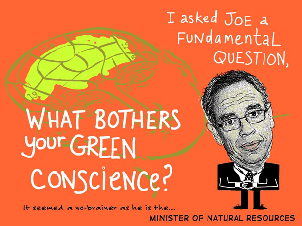 I asked Joe a Fundamental question, what bothers your green conscience, Photo-illustration of Joe Oliver by Franke James