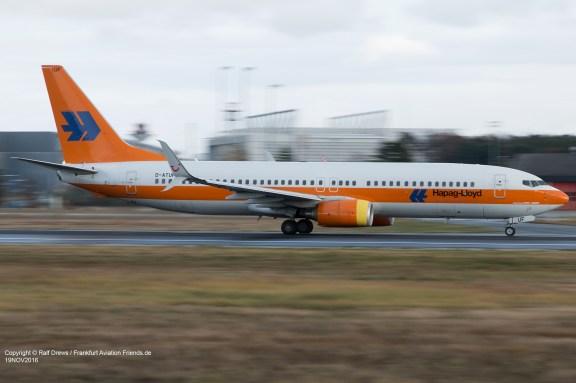 "D-ATUF TUIfly Boeing 737-8K5 (ln 1907) ""Hapag-Lloyd Kreuzfahrten"" Frankfurt 19.11.2016"
