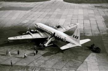 """OY-KLO  Scandinavian Airlines Douglas DC-6 """"Cloudmaster"""" (ln 125) """"Skjold Viking"""",FRA 1958"""