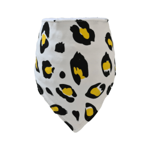 White and Yellow Leopard Print Bandana Bib