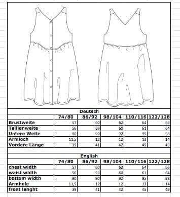 Maßtabelle: Luftiges Kleid aus Bio-Leinenstoff für Kinder