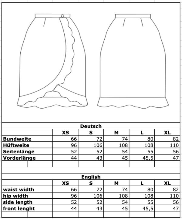 Maßtabelle: Rock in Wickeloptik