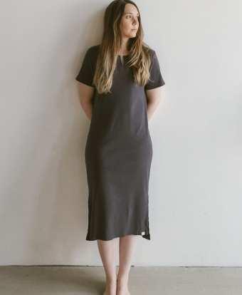 Rib Jersey Kleid in slate für Frauen