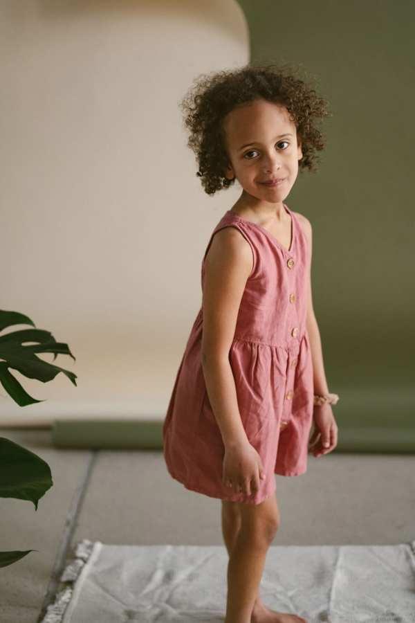 Gestreiftes Leinen Kleid für Kinder