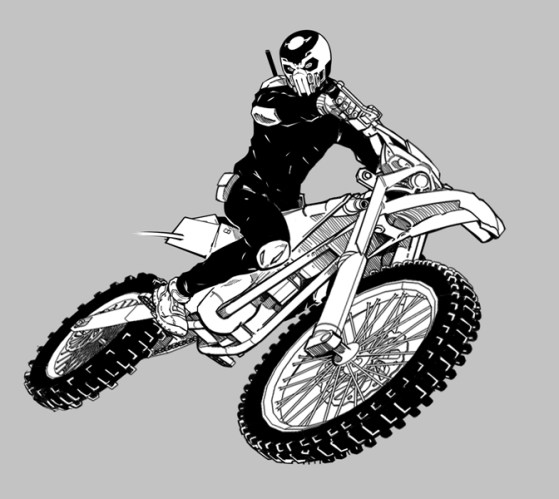 Disain karakter Setan Jalanan dan Morphus (motornya) hasil goresan Haryadhi.