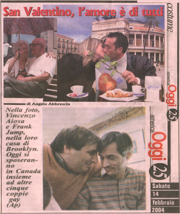 Italian American Newspaper Covers Gay Wedding on Valentine's Day