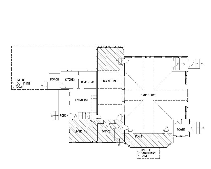 floor plan showing buidling additions