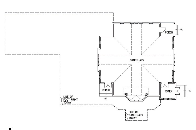 floor plan showing original footprint of the church