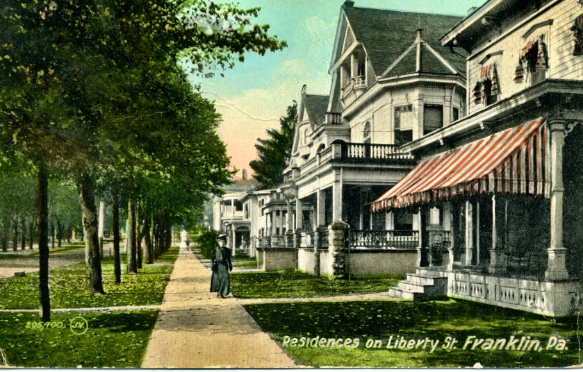 Undated picture postcard depicting several historic homes on Liberty Street in Franklin,PA
