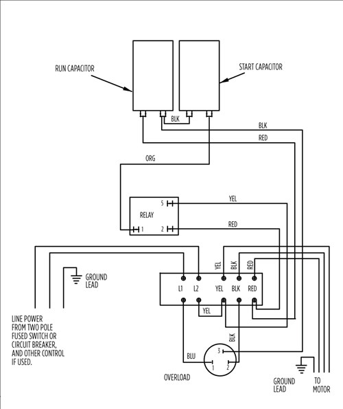 wiring diagram of a single phase motor with two capacitors trane heat pump compressor capacitor free for you aim manual page 54 motors and controls c split