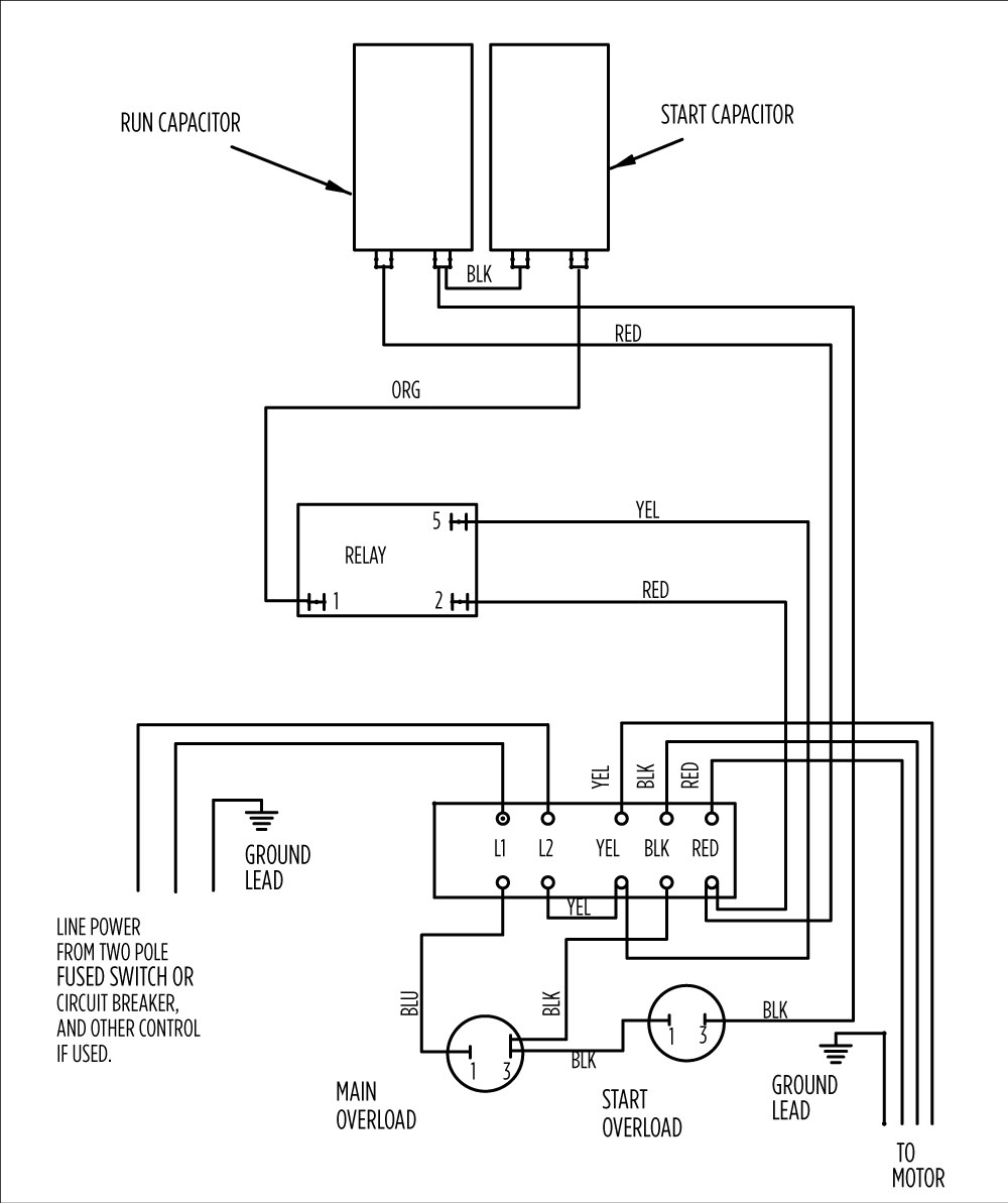 3450 rpm capacitor start motor wiring diagram compressor