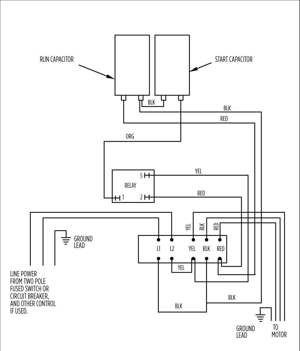 wiring diagram of a single phase motor with two capacitors ford puma fuel pump aim manual page 54 motors and controls 1 5 hp 282 300 8610