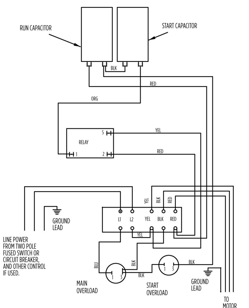 Single Phase Submersible Motor Starter Circuit Wiring Diagrams