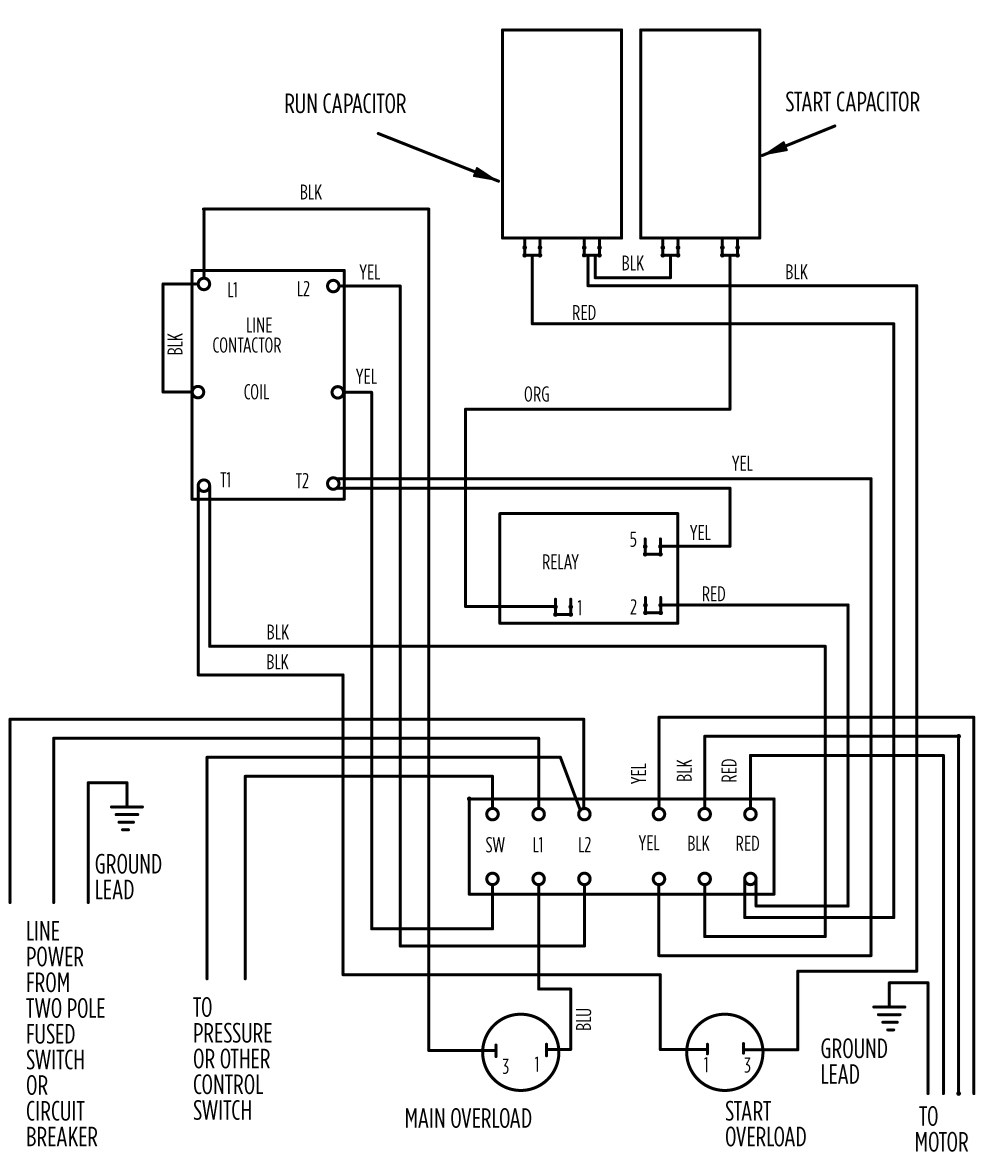 single phase contactor wiring diagram mercedes sprinter ignition switch 3 pole power schematic library motor 2113 2 hp deluxe 282 301 8310