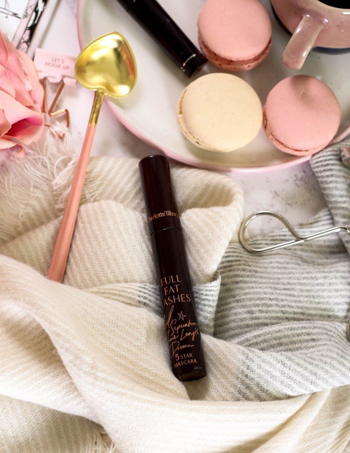 The Mascara Edit | High End Mascaras Worth Trying for Fuller Lashes | feat Charlotte Tilbury Full Fat Lashes stled on scarf with macarons