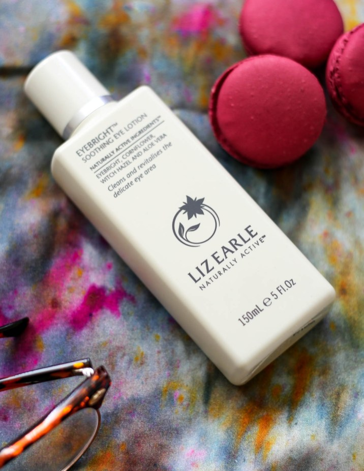 My Hydration Heroes for the Skin, Lips & Eyes | feat Liz Earle Eyebright Soothing Eye Lotion styled on fabric