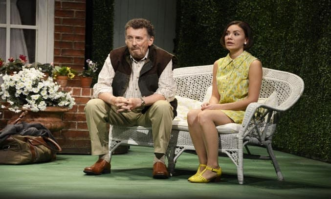 Robert Powell as Philip and Lindsay Campbell as Ginny in RELATIVELY SPEAKING.