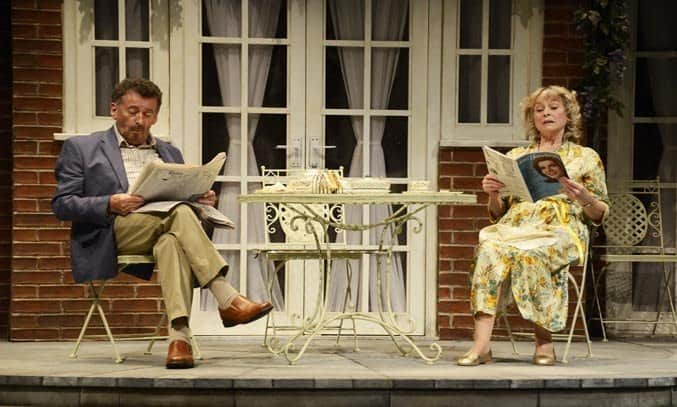 Robert Powell as Philip and Liza Goddard as Shelia in RELATIVELY SPEAKING
