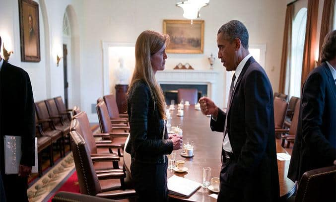 Barack Obama and Samantha Power in The Final Year (2017)