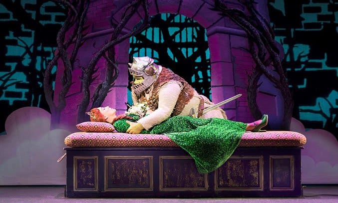 Steffan Harri as Shrek and Laura Main as Princess Fiona in SHREK THE MUSICAL UK Tour