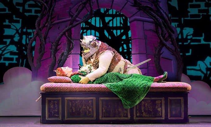 Steffan Harri as Shrek and Laura Main as Princess Fiona in SHREK THE MUSICAL UK Tour