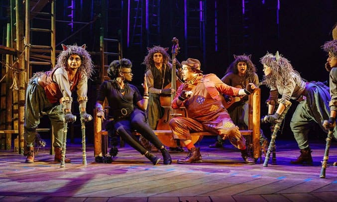 Dyfrig Morris as Baloo and Deborah Oyelade as Bagheera in THE JUNGLE BOOK.