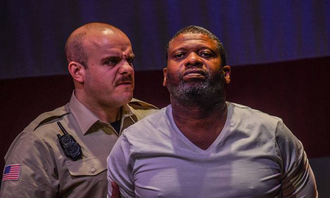 Alastair Gillies as Valdez and Faz Singhateh as Lucius Jenkins in Jesus Hopped the 'A' Train