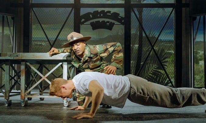 Ray Shell as Emil Foley and Jonny Fines as Zack Mayo in AN OFFICER AND A GENTLEMAN. Photo: Manuel Harlan