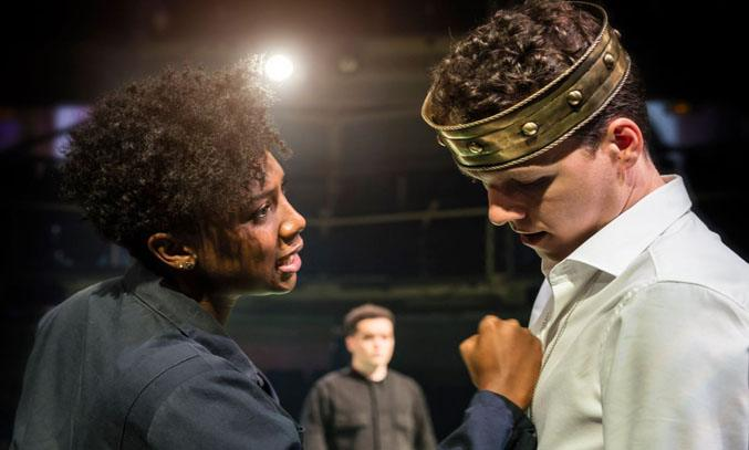 Jade Anouka as Margaret of Anjou and Max Runham as Henry VI in QUEEN MARGARET. Photo Credit: Johan Persson