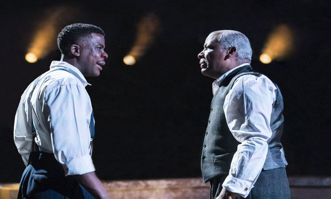 Ashley Zhangazha (Biff) and Don Warrington (Willy) in DEATH OF A SALESMAN.