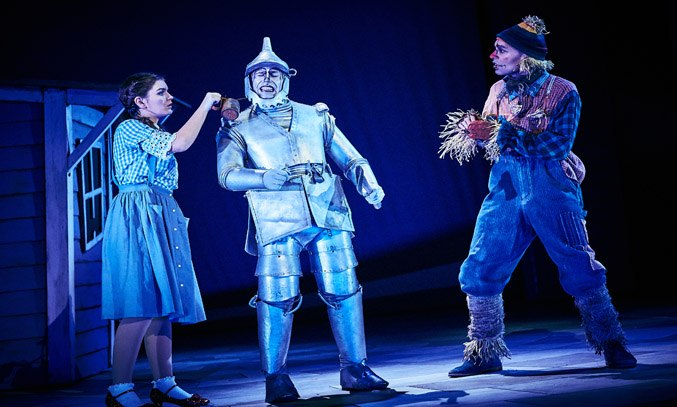 Holly Tandy (Dorothy), Kelvin Fletcher (Tin Man) and Kieran McGinn (Scarecrow) in THE WIZARD OF OZ.