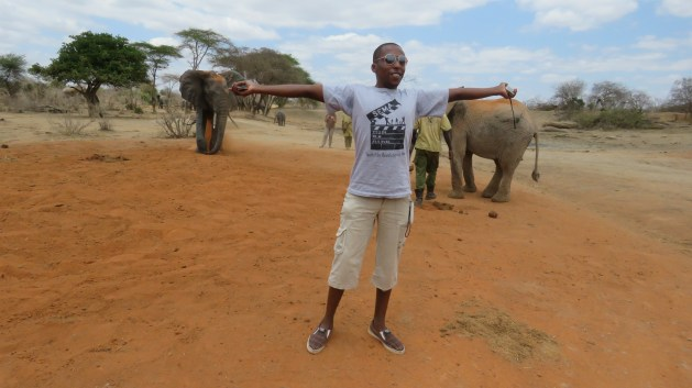 playing with elephants in Tsavo Kenya