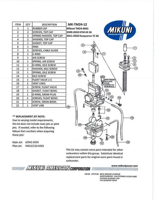 Mikuni TM24 carburetor rebuild kit / 2009-2020 KTM 65 SX
