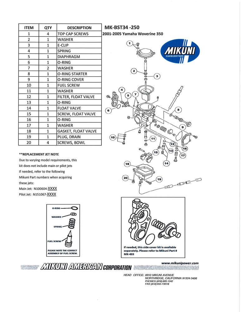 Rebuild kit Mikuni BST 34 carburetor / Yamaha Wolverine