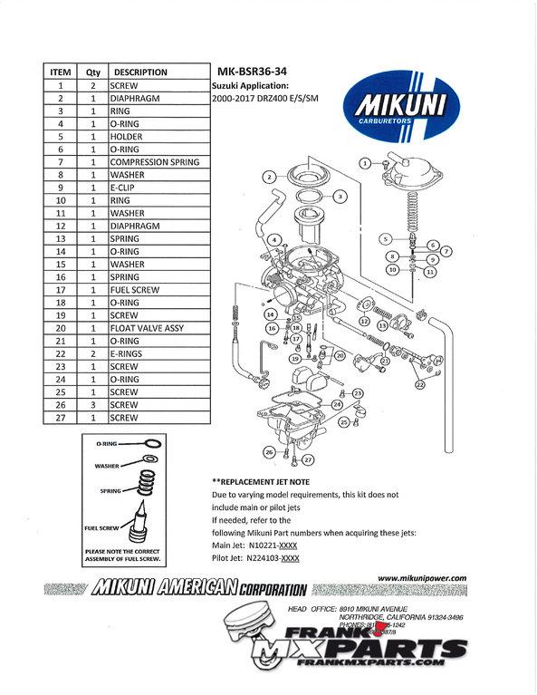 Rebuild kit Mikuni BSR 36 carburetor / Suzuki DRZ 400 DR