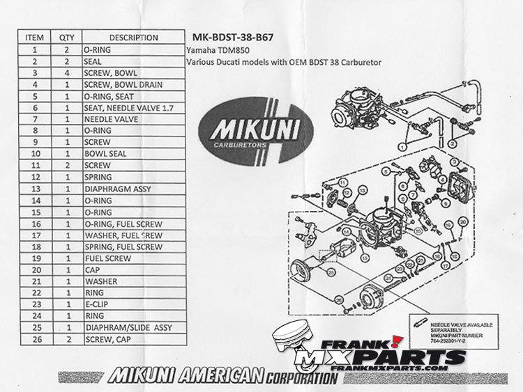 Rebuild kit Mikuni BDST 38 carburetor / Yamaha XTZ 750