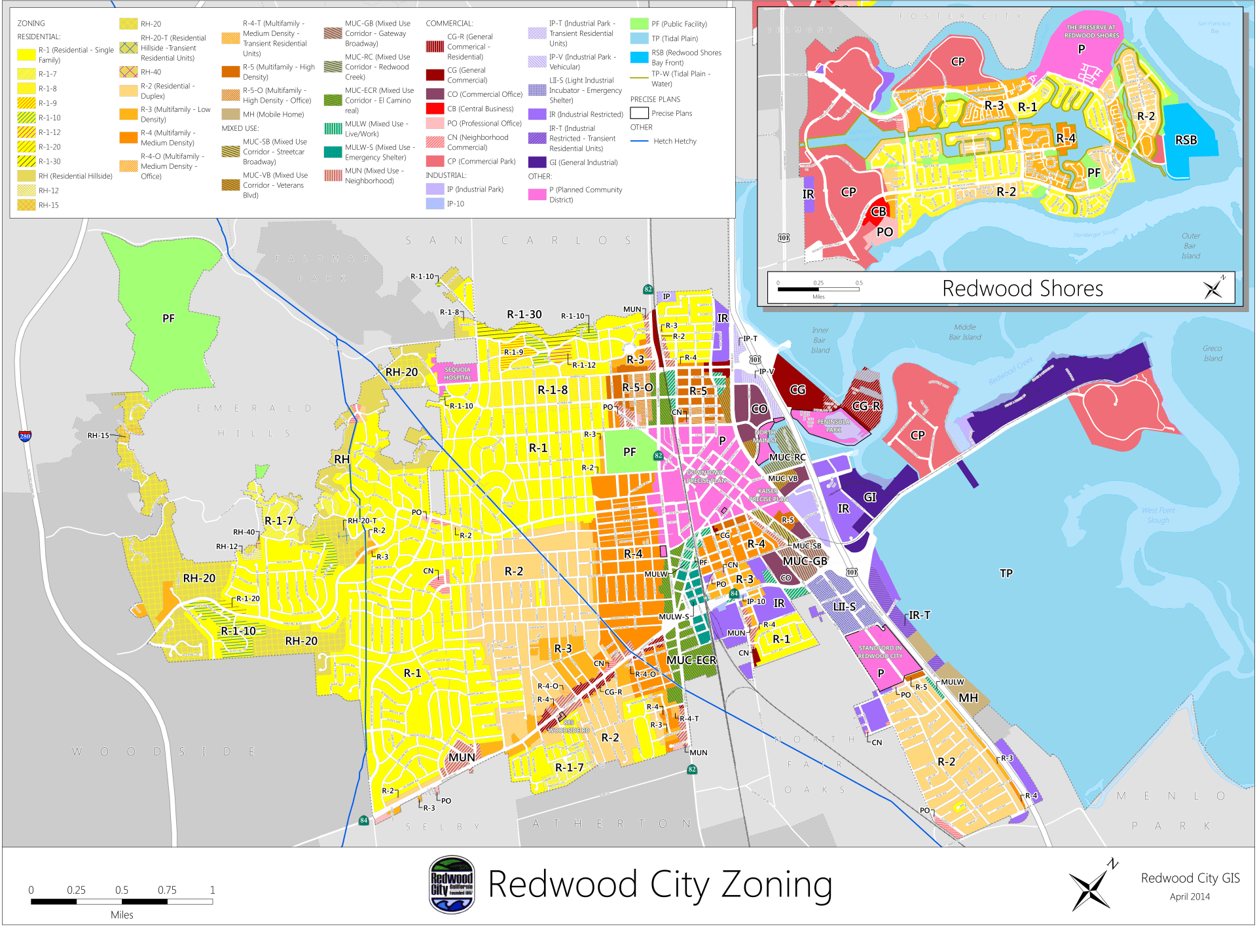 Redwood City Master Plan General Land Use Map